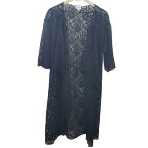 Lularoe Black Lace Shirley Cover-up Kimono